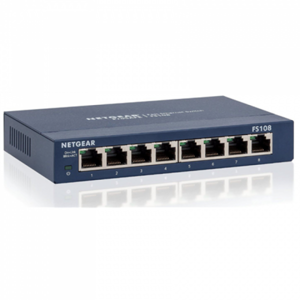 Коммутатор NETGEAR 8-port 10/100 Mbps switch with external power supply (replace FS108-200PES). FS108-300PES фото