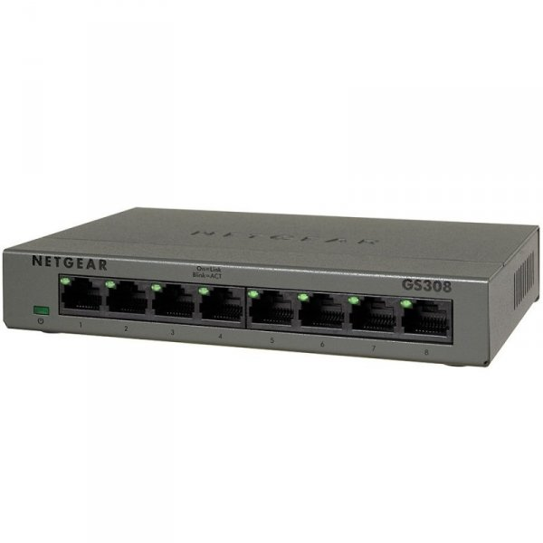Коммутатор NETGEAR 8-port 10/100/1000 Mbps switch with external power supply,metallic case