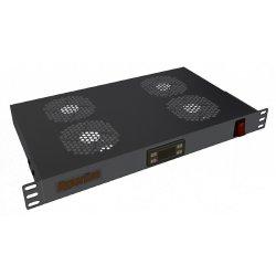 Hyperline TRFA-MICR-4F-RAL9004 Модуль вентиляторный 19, 1U, глубиной 170мм, с термостатом и 4-мя вентиляторами, номинальная мощность 35.20 Вт, датчик температуры, кабель питания C13-Schuko 1.8м, цвет черный (RAL 9004)TRFA-MICR-4F-RAL9004 фото
