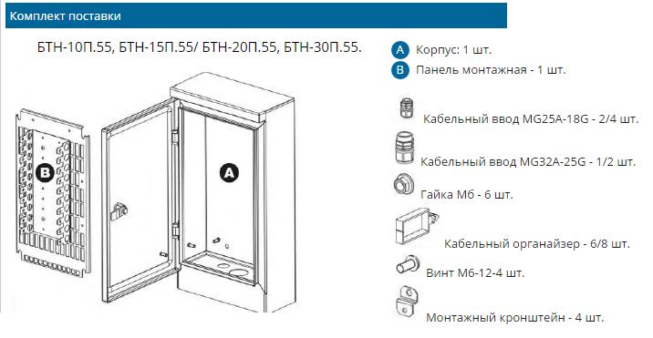 Комплектация бокса телефонного IP55, 100 пар (до 10 плинтов LSA-PLUS)