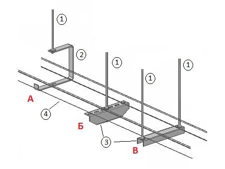Схема подвеса лотка к потолку с использованием шпильки М8.