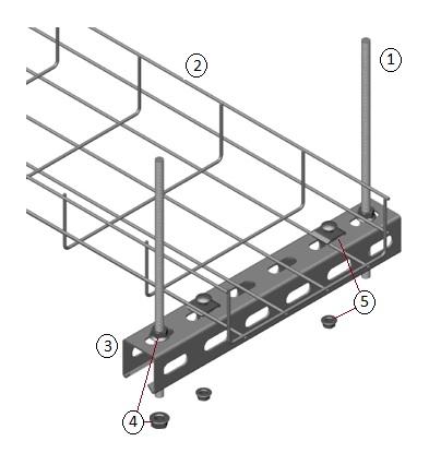 Крепление проволочного лотка к потолку шпилькой и П профилем или опорной планкой.