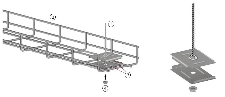 Монтаж лотка к потолку шпилькой и подвесом для шпильки.