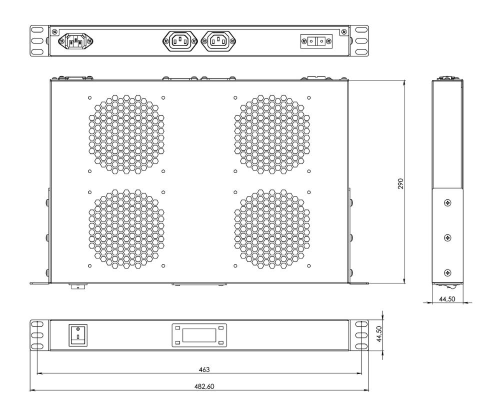 TRFA-MICR-4F-RAL9004 Hyperline габаритные размеры чертеж